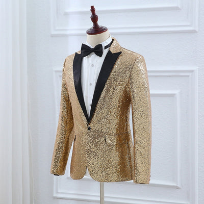 PYJTRL Brand Mens Gold Silver Sequins Suits Wedding Groom Costume Homme Night Club Party Prom Singers Slim Fit Jacket With Pants