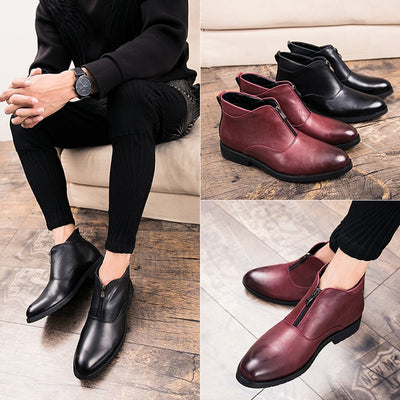 Mermak 2018 Genuine Leather Short Boots Men Handmade Chelsea Ankle Boots Vintage Casual Shoes Soft Fashion Shoes Dress Business
