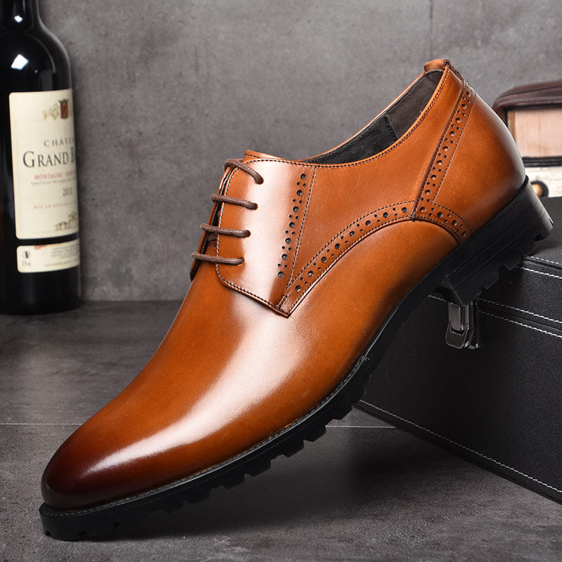 OSCO Men Genuine Leather Shoes Autumn Winter Business Dress Formal Wedding  Shoes Male Breathable Pointy Luxury 1021fbf96ef8