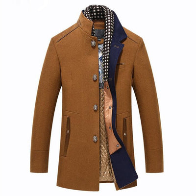 Winter Trench Coat Men Casual Thick Wool Overcoat Men's Stand Collar Woolen Coats With Detachable Scarf Parka Casaco Masculinos
