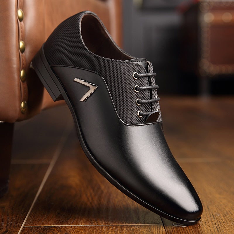Formal Men Luxuxy Dress Shoes Oxfords Leather Lace Up Wedding Casual Shoes 2019