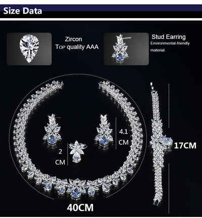 Bijoux Femme Ensemble Wedding Jewelry Sets For Women Sparkling AAA Zircon Copper Fashion Bridesmaid Jewelry Set