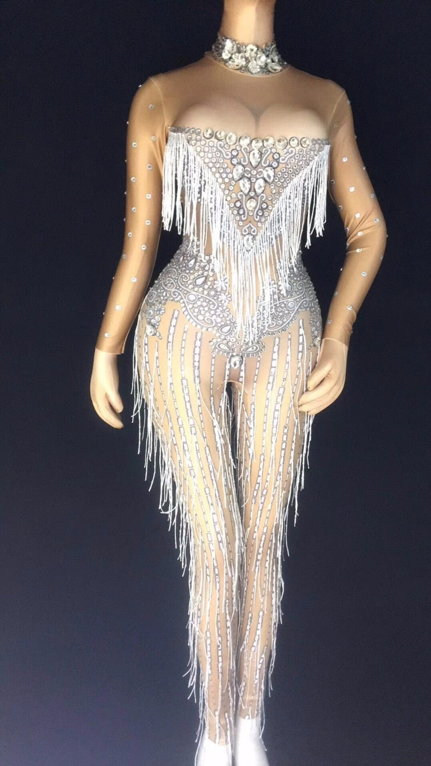 041698fcb26 Glisten Silver Rhinestones Jumpsuit Tassels Big Stones Stretch Bodysuit  Nightclub Singer Dance Party Outfit Women s Clothes