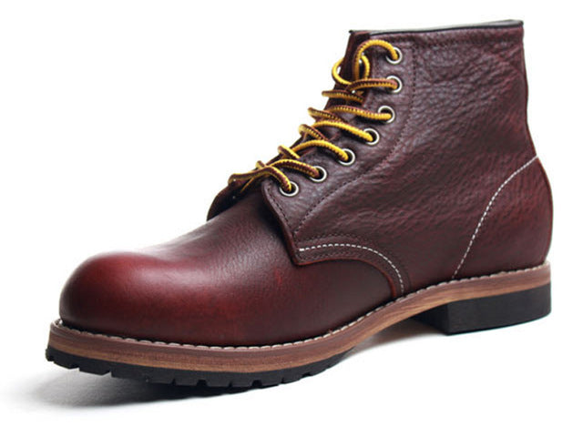 587def38068 2017 Handmade Vintage lace up New Spring Genuine Leather Mens Platform  Brown Ankle boots Red Breathable
