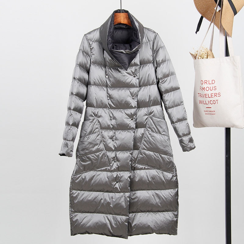 f38f23711 Fitaylor White Duck Down Ultra Light Jacket Women Winter Double Sided Slim  Down Coat Single Breasted Parkas