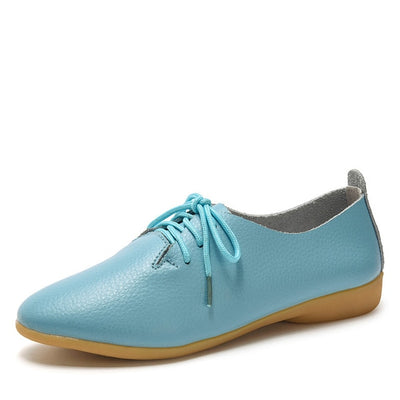 dobeyping 2018 New Women Shoes Genuine Leather Women's Shoe Lace-Up Female Flats Pointed Toe Woman Oxfords Large Size 35-44