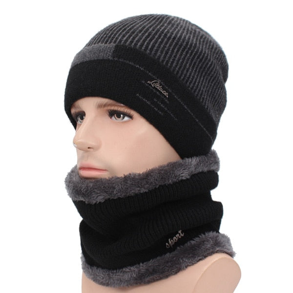 0bdbf30697896 chicmaxonlineSkullies Beanies Men Scarf Knitted Hat Cap Male Plus Gorras  Bonnet Warm Wool Thick Winter Hats