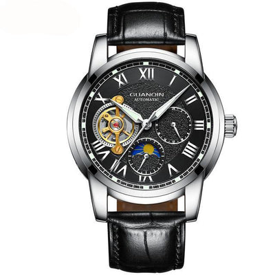 GUANQIN Mens Watches Top Brand Luxury Tourbillon Skeleton Watch Men Sport Leather Waterproof Automatic Mechanical Wrist Watch