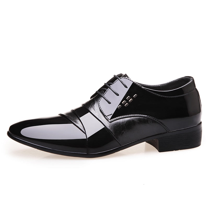 OSCO Formal Men PU Leather Shoes Italian Dress Male Footwear Pointed Toe Business Office Working Oxford Shoes Men