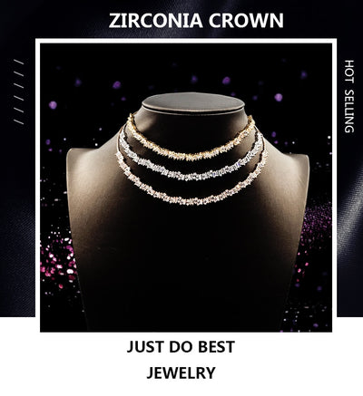 Christmas Monaca Cubic Zirconia Choker Collar With Adjustable Chain Trendy Baguette CZ Choker Jewelry Necklaces