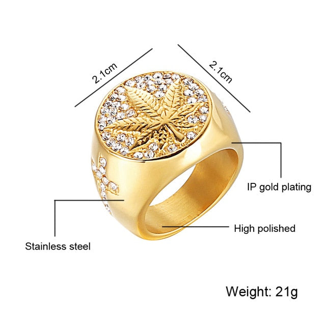 HIP Hop Iced Out Bling Gold Color Stainless Steel Ring Micro Paved Rhinestone Weed Maple leaf Rings for Men Jewelry
