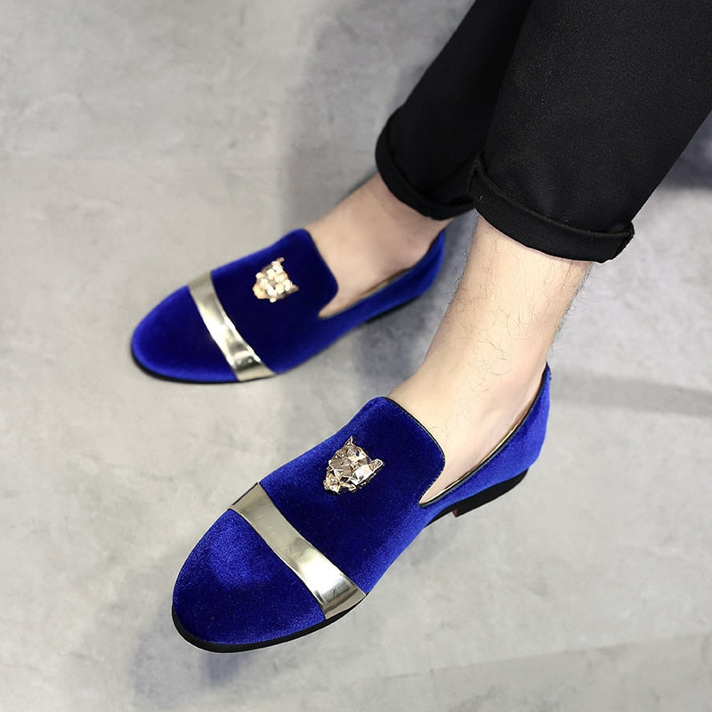 6e375c0ce8eb VIVODSICCO Fashion Men Party And Wedding Handmade Loafers Men Velvet Shoes  With Tiger and Gold Buckle