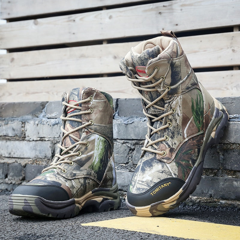 87206d72bb2 Men Snow Boots Winter Waterproof Army Desert Combat Mens Shoes Man Tactical  Military Ankle Boot