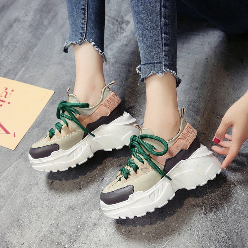 9df4710485 ADBOOV New Fall Winter Platform Sneakers Women Height Increasing 7 cm  Chunky Shoes Woman Plus Size