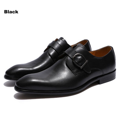 FELIX CHU European Style Handmade Genuine Leather Men Brown Monk Strap Formal Shoes Office Business Wedding Dress Loafer Shoes