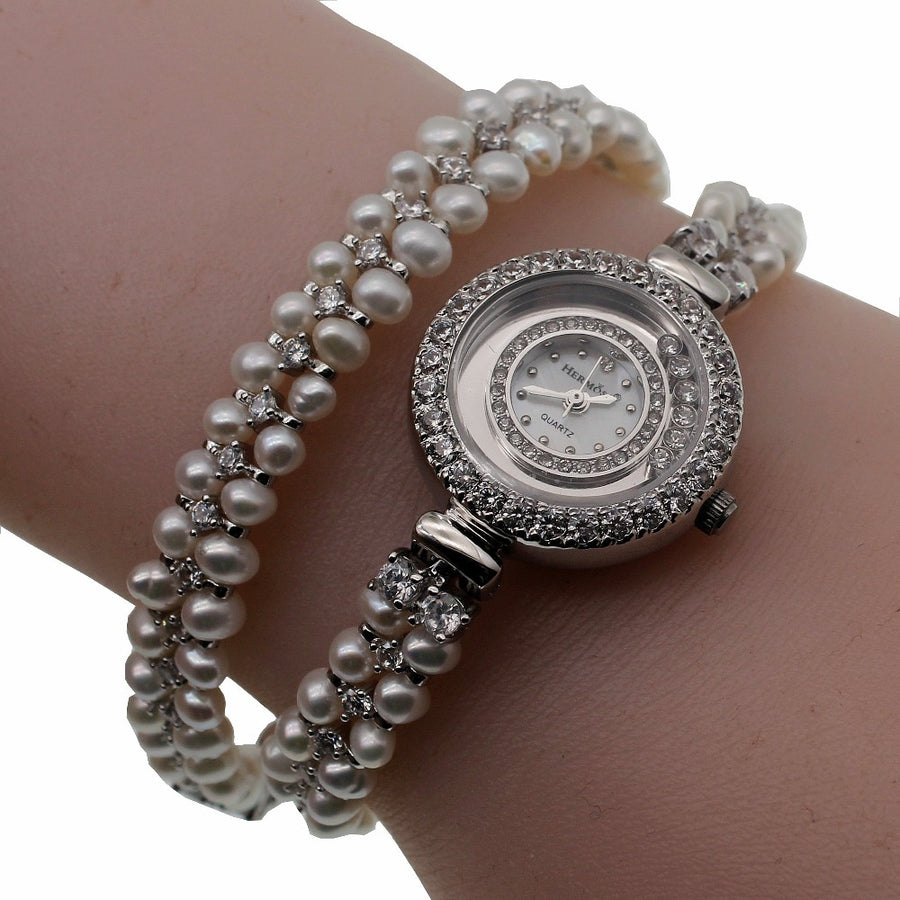 Classic Fashion Jewelry  high-end multi-pearl combination pieces of 925 sterling silver charm bracelet watchdress