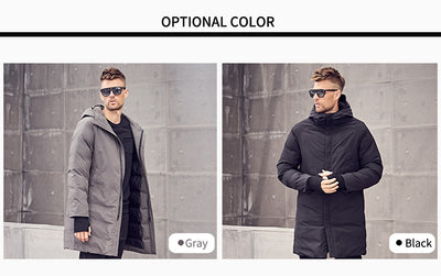 Brand Winter Cotton Padded Hooded Long Jacket Men Thick Hoodies Parka Coat Male Quilted Winter Jacket Coat 3XL