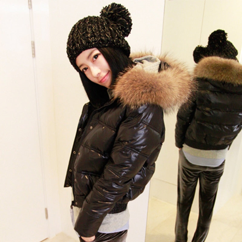 Hooded Real Raccoon Fur Winter Jacket Women Long Sleeve Slim White Duck Down Parkas Coat Female Zipper Pockets Outwear
