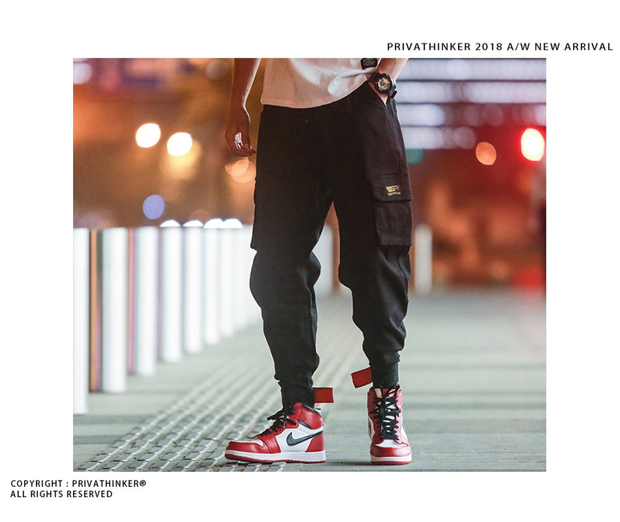 Privathinker Cargo Pants Men 2018 Mens Streetwear Joogers Pants Black Sweatpant Male Hiphop Autumn Pockets Trousers Overalls