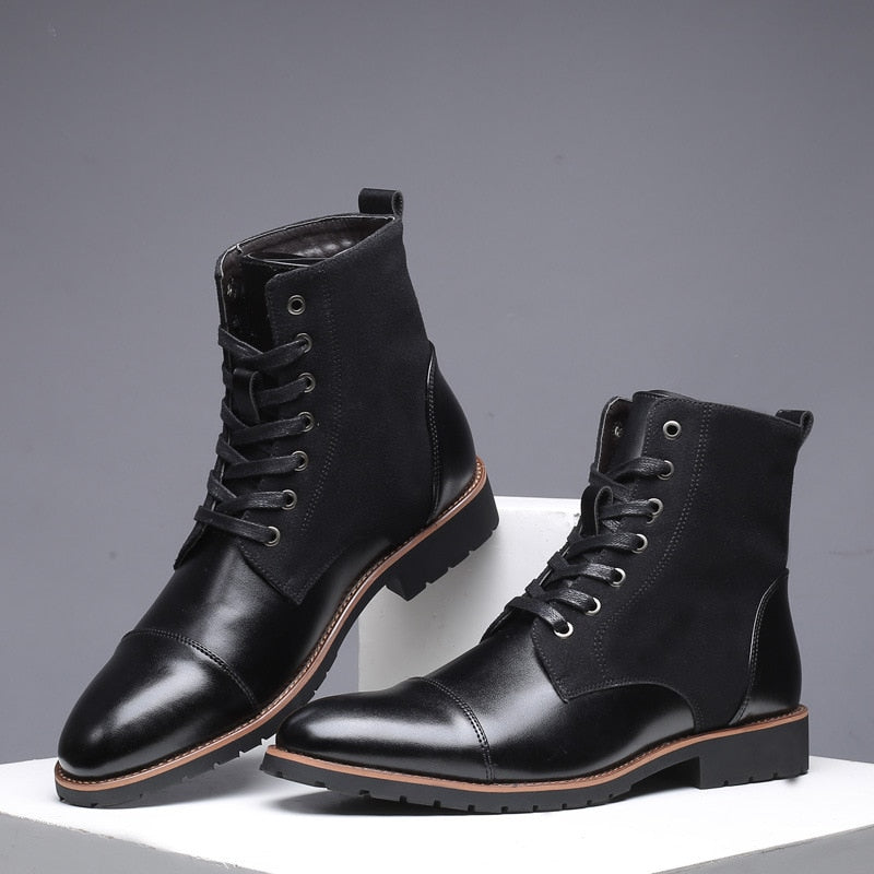 merkmak black leather Boots Men Military Boots Waterproof Autumn Winter  Shoes Cowboy Casual Boots Male Big Size 35,46 Newest