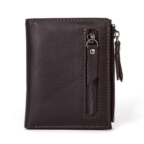 Men Wallets Genuine Leather Wallet for Credit Card  Holder Zip Small Wallet Man Leather Wallet Short Slim Coin Purse Men 604