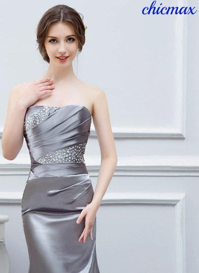 01958a0814f0c Silver Gray Evening Dresses Long Silk Satin Mermaid Shining Crystals Beaded  Cheap Formal Evening Gown Prom Real Photos Free Ship