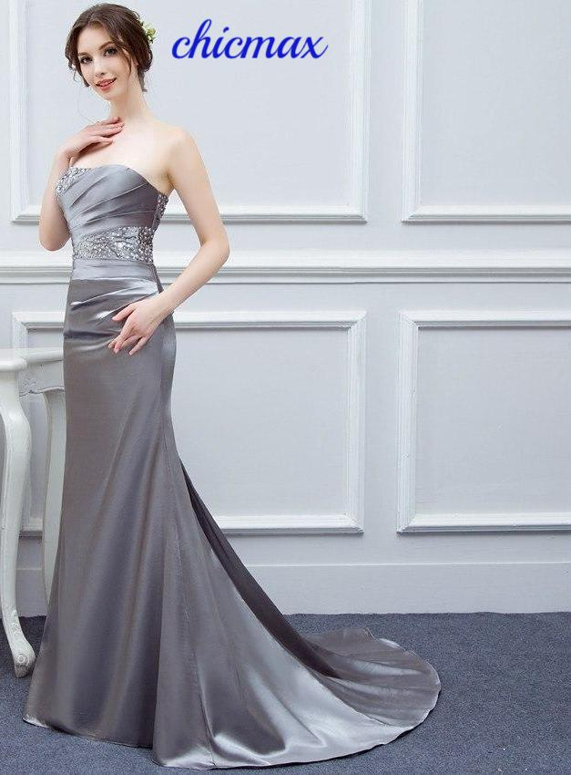 3bc5df73a2 Silver Gray Evening Dresses Long Silk Satin Mermaid Shining Crystals Beaded  Cheap Formal Evening Gown Prom Real Photos Free Ship
