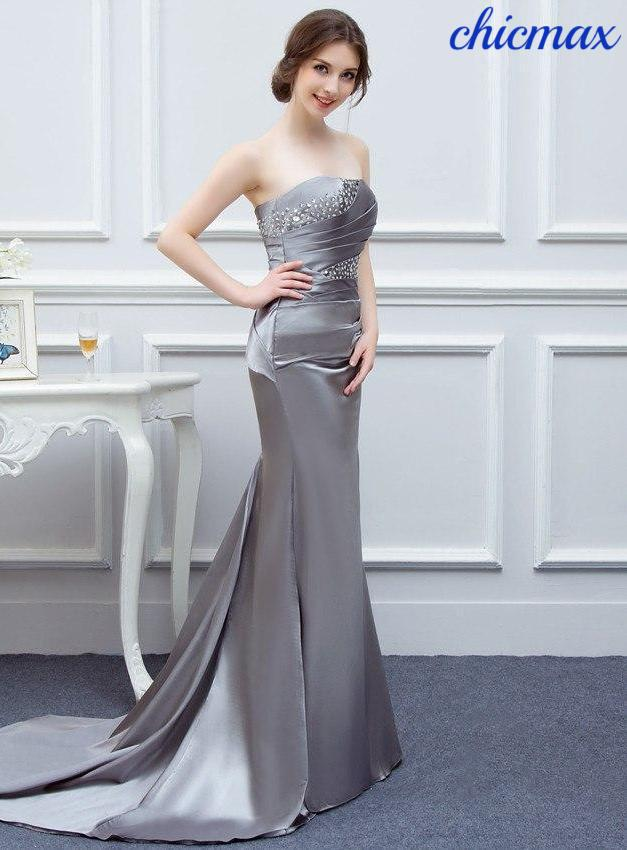 769d991580 Silver Gray Evening Dresses Long Silk Satin Mermaid Shining Crystals Beaded  Cheap Formal Evening Gown Prom