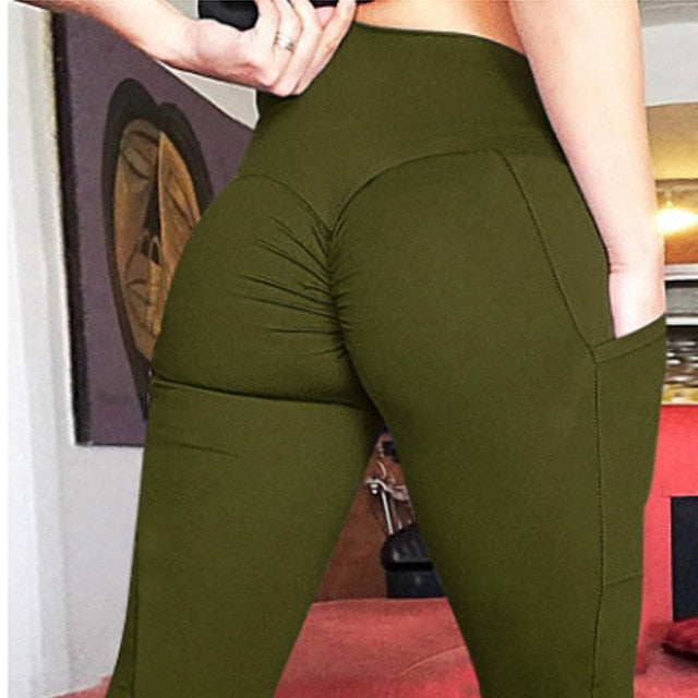 HEYJOE New Leggings Women High Waist Workout Legging with Pockets Patchwork Hips Push Up Leggings Fitness Shaping Leggings