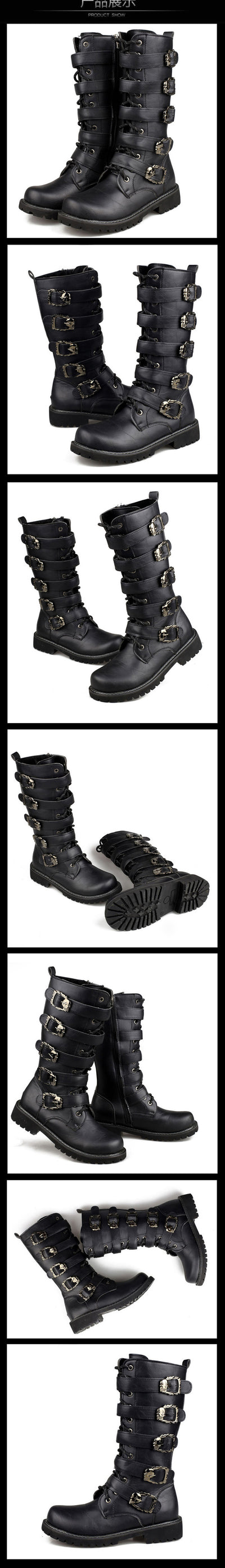 Winter Men Motorcycle Boots 2018 Fashion Mid-Calf Punk Rock Punk Shoes Mens PU Leather Black High top Casual Boot Man