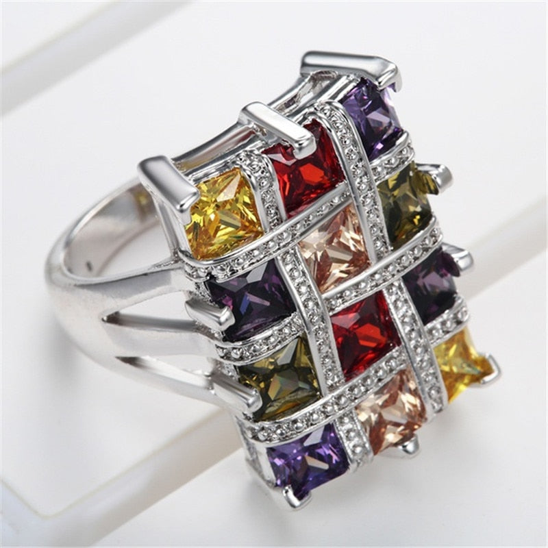 Multicolor Crystal Zircon Rings for Women Fashion Jewelry Wedding Engagement Statement Ring Bijoux Anillos