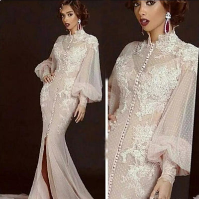 Arabic Moroccan Mermaid Evening Dresses Party Elegant for Women Celebrity Long Sleeves Dubai Caftans High Neck Split Formal Gown
