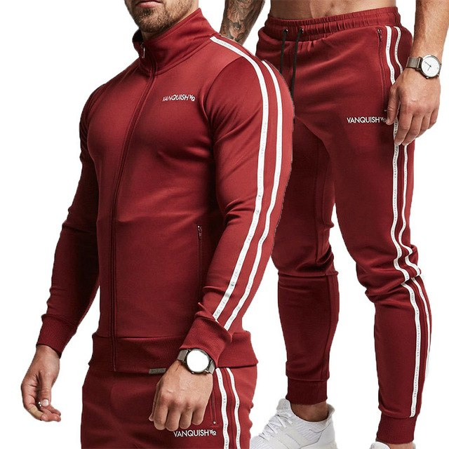 Mens Casual Tracksuit Long Sleeve Running Jogging Quick Dry Jacket and Pants