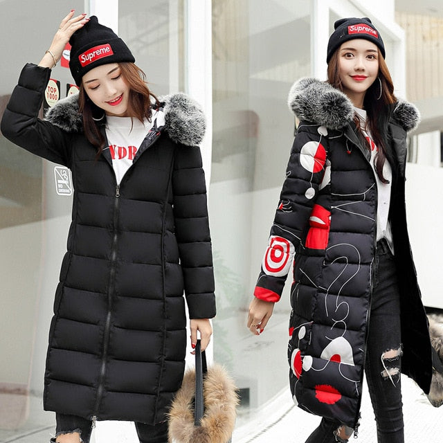 c56e4c5dfa4b8 Both Two Sides Can Wear Winter Jacket Women With Fur Collar Hooded Womens  Coat Coats Long