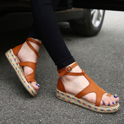 2018 summer new simple Roman shoes woman sandals casual platform shoes women sandals buckle flat sandals female shoes
