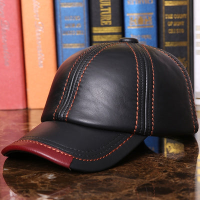Adult Baseball Cap Male Winter Outdoor Hat Male 100% Genuine Leather Peaked Cap Men's Winter Warm Adjustable  B-7286