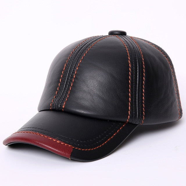 7a1f23431ee Adult Baseball Cap Male Winter Outdoor Hat Male 100% Genuine Leather Peaked Cap  Men s Winter