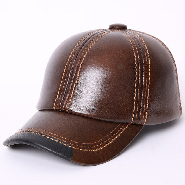 7c0b4a45fa6 Adult Baseball Cap Male Winter Outdoor Hat Male 100% Genuine Leather Peaked Cap  Men s Winter