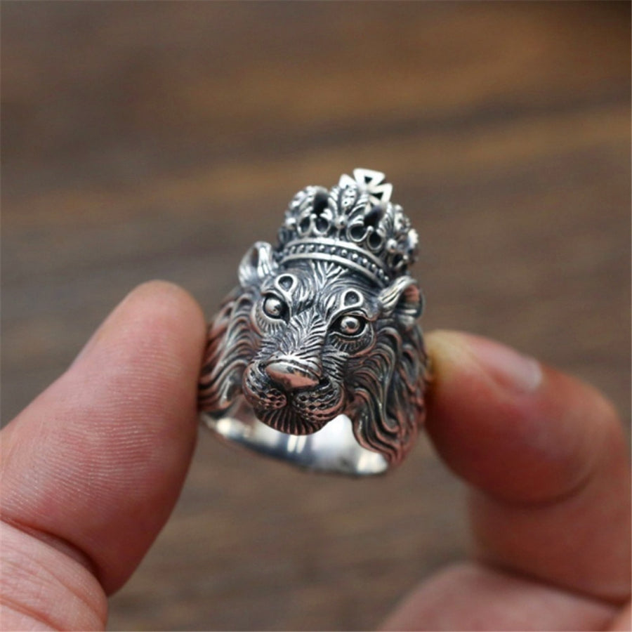Punk Male Female Lion Finger Ring Stainles Steel Rings For Men And Women Vintage Animal Wedding Jewelry