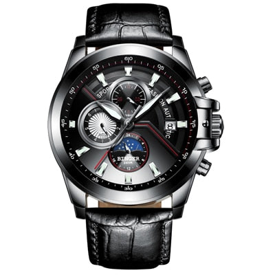 Switzerland BINGER Watch Men Luxury Brand Men Watches Moon Phase Luminous Watches Male waterproof Mechanical Wristwatches B1189