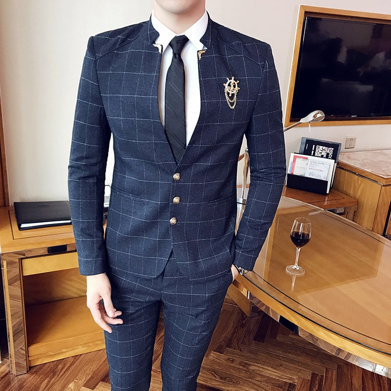 perfect quality marketable fast color Plyesxale Chinese Style Mandarin Collar Suits For Men Black Navy Blue Mens  Slim Fit Plaid Suits 2 Piece Groom Wedding Suit Q270