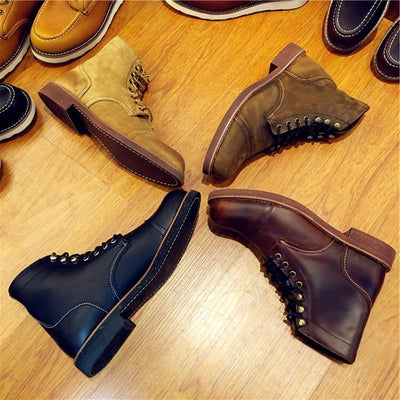 Yomior Official Design Vintage Real Leather Cowhide Wings Top Quality Round Toe Ankle Boots Spring Winter Safety Motorcycle Boot