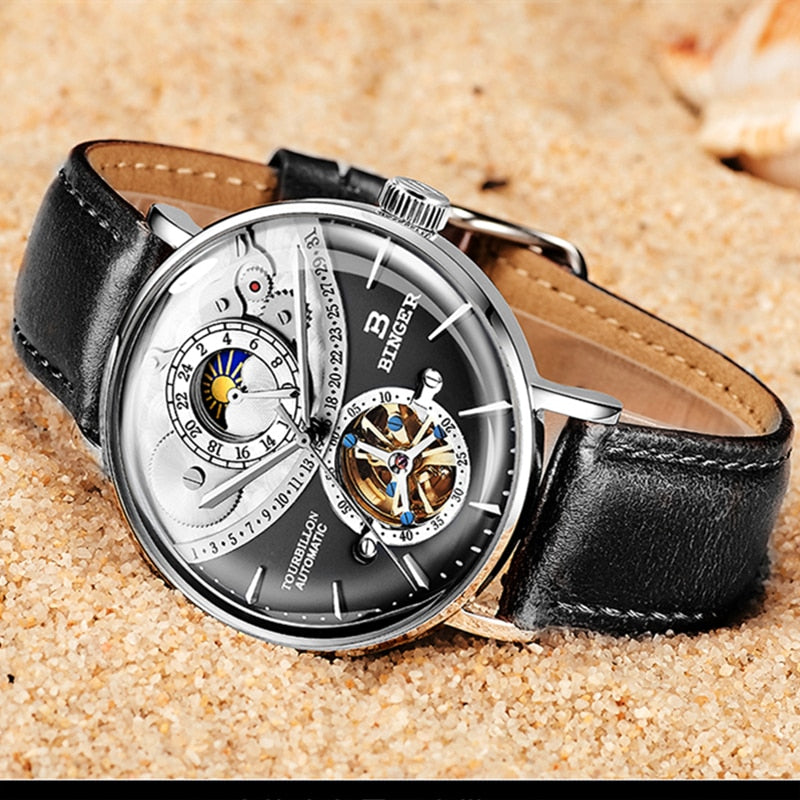 2018Saat Switzerland Automatic Watch Men BINGER skeleton Mechanical Men Watches Full Steel Sapphire Relogio Masculino Waterproof