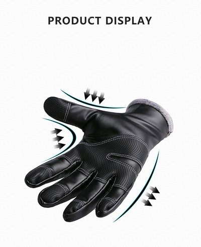 Winter Warm Men's Leather Gloves Black Touch Screen Gloves For Men Fashion Brand Winter Warm Mittens Full Finger handschuhe
