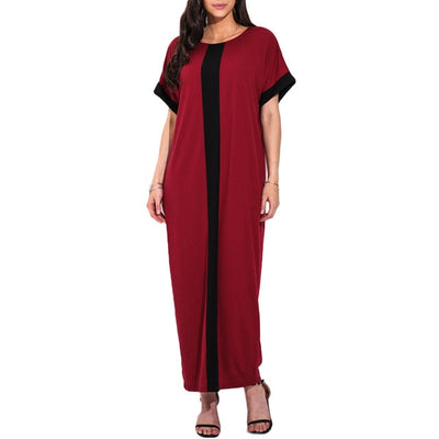 Women Plus Size 3XL 4XL 5XL Robe Dresses Contrast Panel Shirt Dress O Neck Short Sleeve Casual Loose Maxi Long Dress Summer 2019