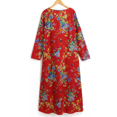 Boho Dress Women Cotton Linen Maxi Dress Vintage Floral Print Robe female 2019 Autumn Winter Long Dresses Plus Size 3XL 4XL 5XL