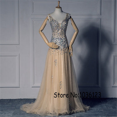 Spaghetti Straps Deep V-neck AB Colorful Stones Beading Champagne Prom Dress Dropped Waistline Cheap Evening Dress