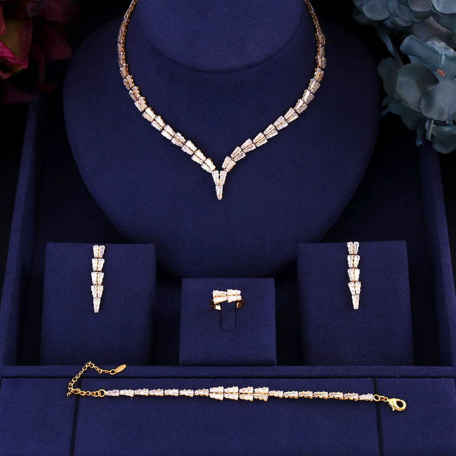 jankelly Gold-Color 4pcs Bridal Zirconia Jewelry Sets For Women Party, Luxury Dubai Nigeria CZ Crystal Wedding Jewelry Sets