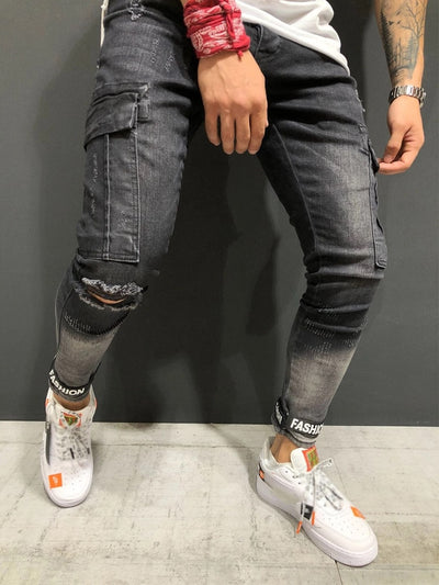 KENNTRICE New Men Jeans Distressed Pants Hole Jogger Skinny Jeans  Multi-pocket  Motorcycle Slim Fit Ripped Trousers Male
