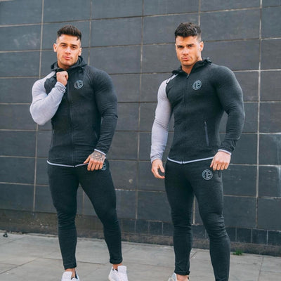 2018 New Sport Suit Men Bodybuilding Jacket Pants Sports Suits Basketball Tights Clothes Gym Fitness Running Set Men Tracksuits